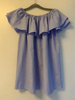 Off-The-Shoulder Dress azure-white