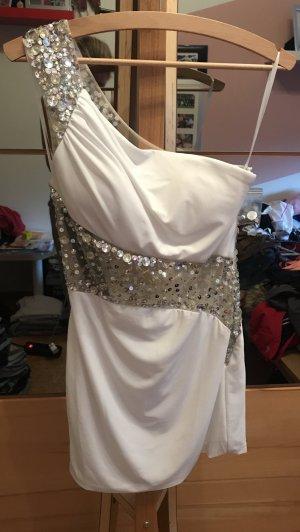 Babydoll-jurk wit-zilver