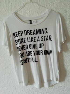 H&M Divided Camiseta estampada blanco-negro Viscosa