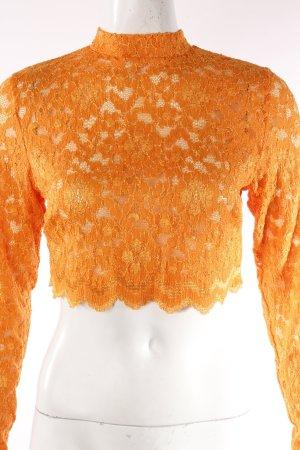 Kurzes Spitzenshirt orange