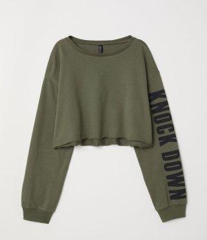 Kurzes Sweatshirt/Khakigrün/Knochdown