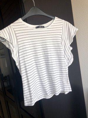 Kurzes T-Shirt mit Volant-Ärmeln, Mango