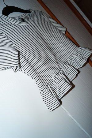H&M Camicia cropped nero-bianco