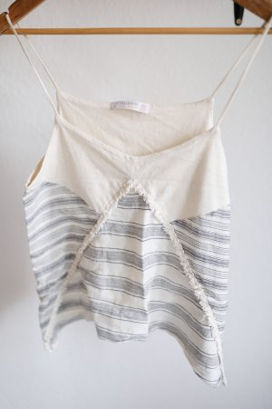 Pull & Bear Top cut-out bianco sporco-grigio