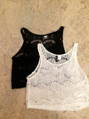 Kurzes Top von H&m in schwarz und weiß:)