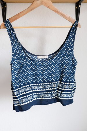 Pull & Bear Cropped top donkerblauw-wolwit