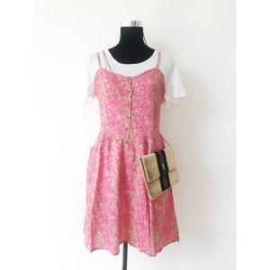 kurzes Trägerkleid beige rosa 38 Hängerchen Kleid mit Muster