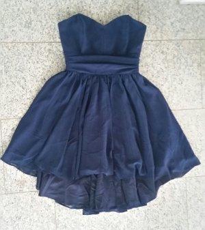 Kurzes trägerloses Ballkleid Marineblau vokuhila Kleid Navy Blue