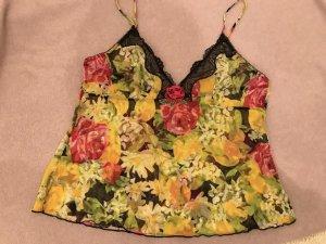 kurzes Unterhemd aus Tüll mit Spitze und Rosenmuster