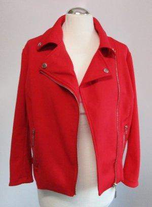 Kurzjacke Biker MSMode Größe XL 42 44 Rot Jersey Jacke Kirschrot Knallrot Übergangsjacke