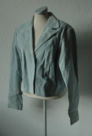 Kurzjacke echtes Leder blau türkis Gr. UK 16 42 L Fiorelli