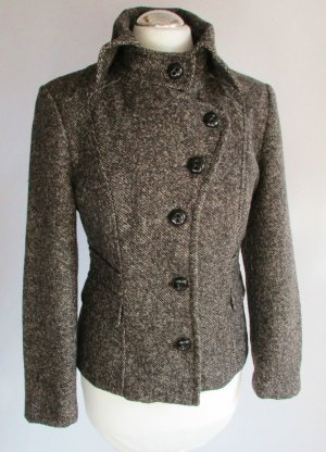 Kurzjacke Kurz Blazer St.Emile Größe M 40 Braun Beige Meliert Tweed Schurwolle Wolljacke Jacke Alpaka Wolle