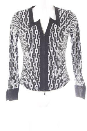 Giacca corta nero-bianco motivo a righe stile casual