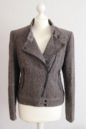 Kurzjacke Tweed-Jacke Jäckchen Biker-Stil braun-beige meliert Gr. 40 H&M