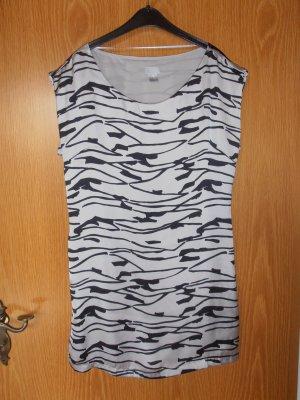 Kurzkleid Tunika H&M Silber schwarz gestreift Tigermuster elegant S 36