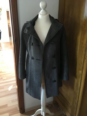H&M Divided Abrigo con capucha gris oscuro-negro Lana