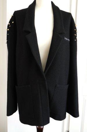 Kurzmantel aus Wolle von  FILLES A PAPA  in schwarz mit silbernen Nieten