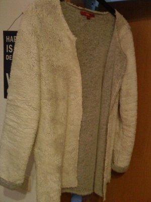 Kurzmantel/Cardigan mit Teddyfell weiß/grau s.Oliver 38