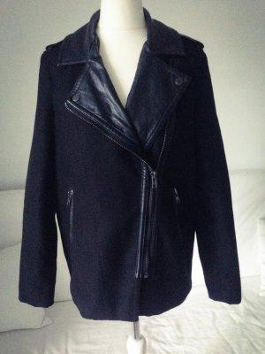 Kurzmantel Jacke schwarz mit Ledereinsätzen blogger Gr. 34/XS