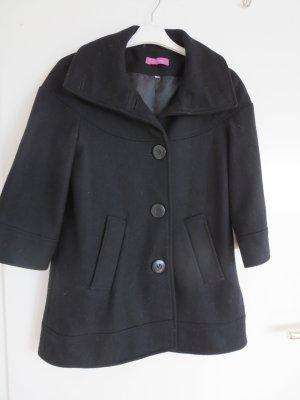 Kurzmantel schwarz 3/4 Arm Wolle DE 34