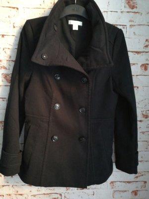 H&M Abrigo corto negro Algodón