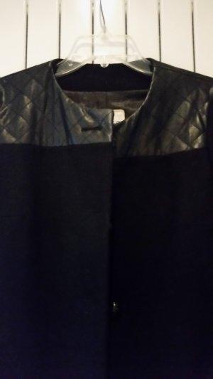 Mango Short Coat black synthetic fibre