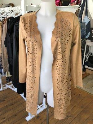 Abrigo corto camel-marrón claro Imitación de cuero