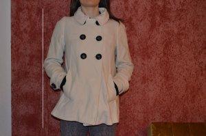 Zara Manteau court blanc cassé coton