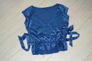 Kurzshirt Tunika royalblau verspielt Glanz Spitze