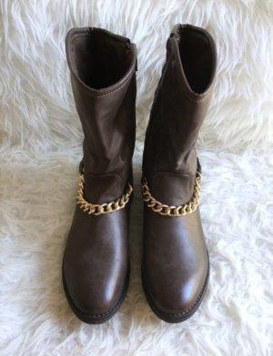 Botas bajas marrón-color oro
