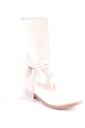Stivale a gamba corta beige-color cammello ornamenti di strass
