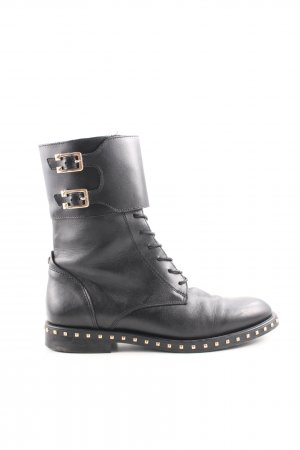 Short Boots black-gold-colored extravagant style