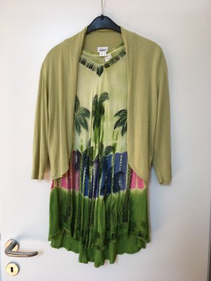 Short Sleeve Knitted Jacket olive green cotton