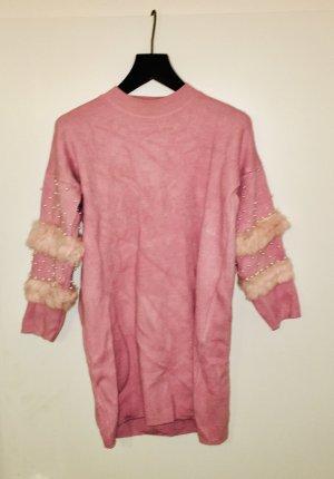 Maglione lungo rosa chiaro
