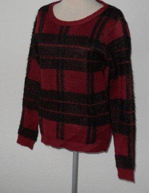 Kuschel Pullover Pulli rot schwarz Gr. S 36 38 kariert