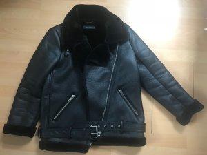 Zara Veste en cuir synthétique noir faux cuir