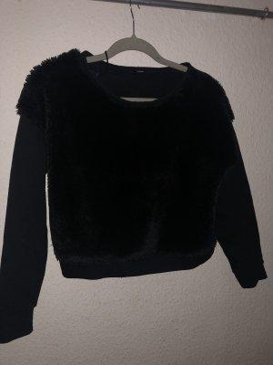 Kuschelig Pullover fell schwarz kurz