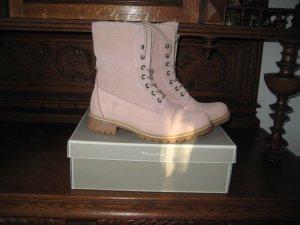 Tamaris Bottes à lacets rose chair-blanc cassé cuir