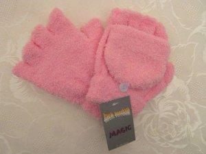 Kuschelig Warme Handschuhe Fingerlos Fäustlinge Klappe 2 in 1 Bouclé Fleece Rosa
