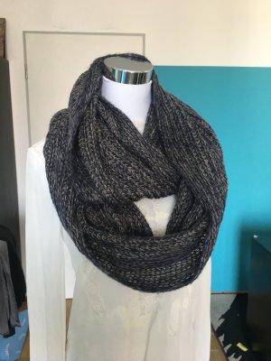 Kuschelig warmer Grobstrickschal Loop  blau - grau meliert
