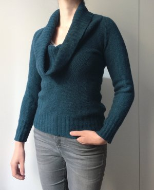 Kuschelig-weicher Pullover in petrol / Wolle Mohair Angora / Gr. 36-38