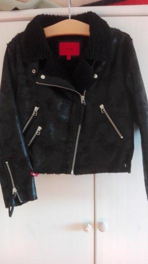 Kuschelige Bikerjacke, schwarz, Lederimitat,L - Am 30. April schließe ich meinen Kleiderschrank!!!
