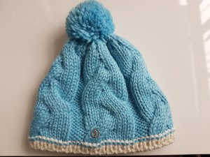 Bogner Bobble Hat azure-cream wool