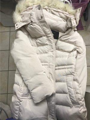 Zara Woman Abrigo de plumón blanco puro-beige claro
