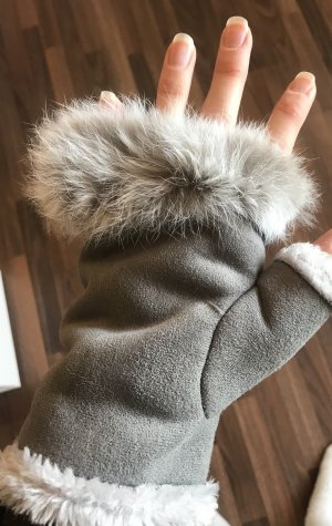 Fur Gloves grey-light grey pelt