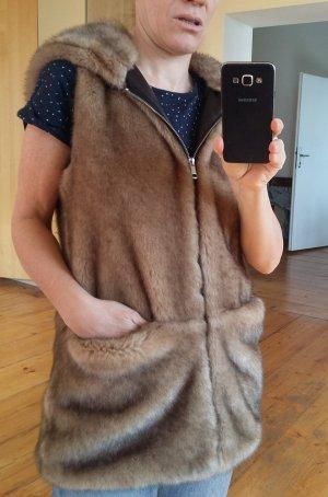 Zara Trafaluc Smanicato di pelliccia sabbia-color cammello Pelliccia ecologica