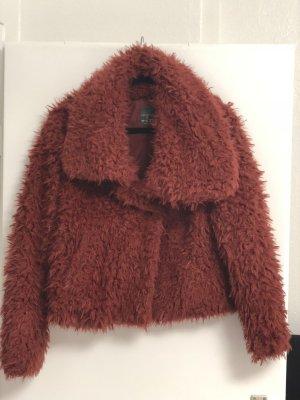 Primark Giacca di pelliccia marrone-rosso