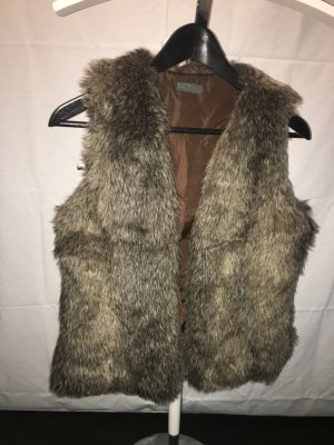 Benetton Fake Fur Vest beige-light brown