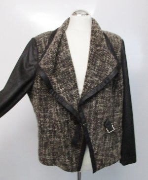 Kuschelige Materialmix Jacke Strick Bonita Größe XXL 46 Boucle Kunstleder Antik Cape Cardigan Wickel Optik