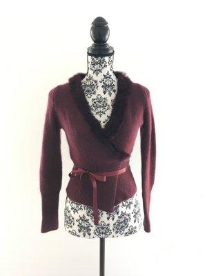 Cache-cœur en tricot bordeau laine angora